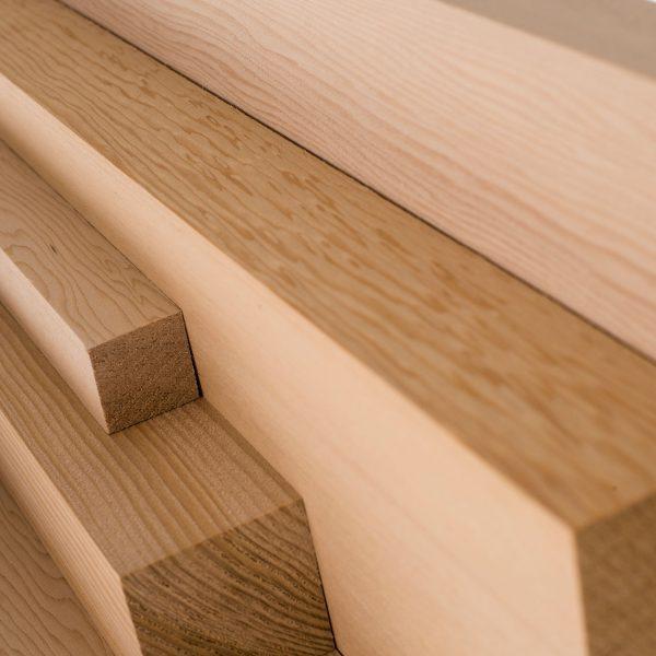 Hemlock wood cut to various lengths